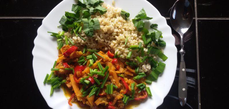 Süßkartoffelcurry mit Reis